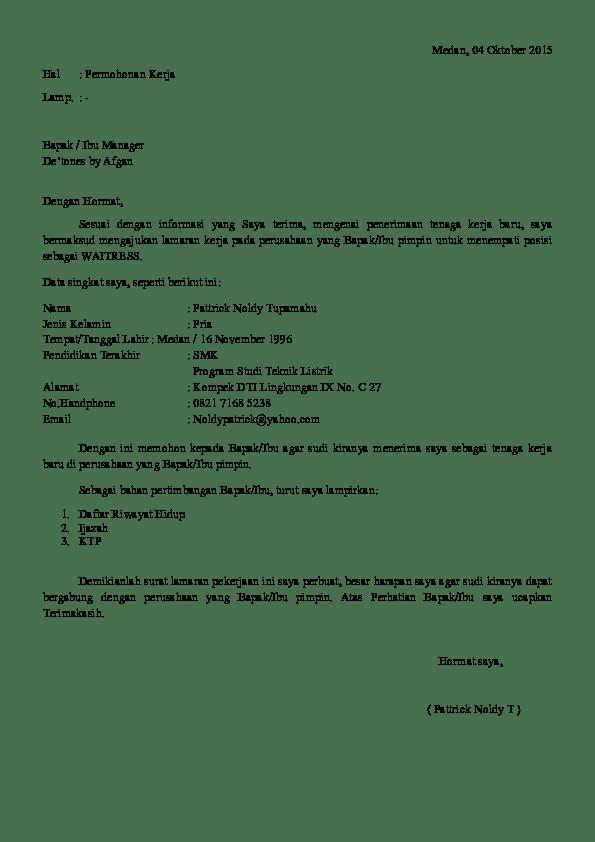 Contoh Surat Lamaran Kerja Waiter Cute766