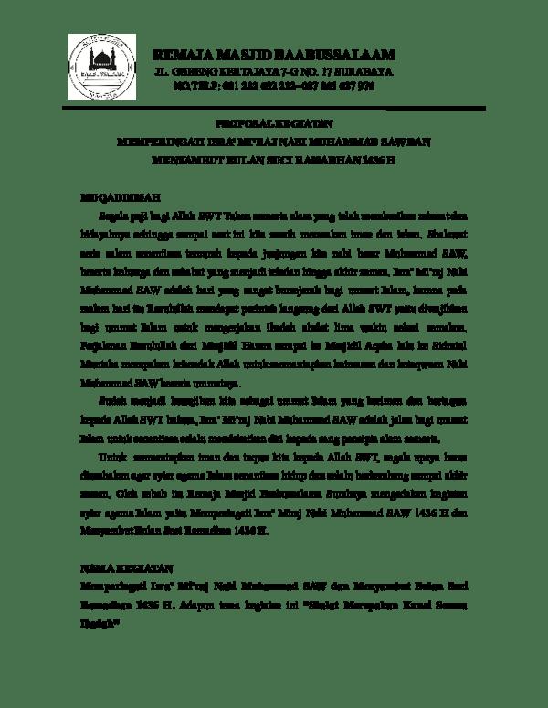 Proposal Isra Miraj : proposal, miraj, Proposal, Miraj, Baabussalaam, Surabaya, Academia.edu