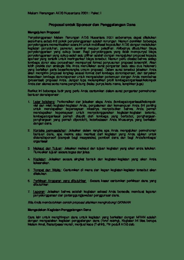 Contoh Proposal Pengajuan Dana Kegiatan Organisasi Pdf : contoh, proposal, pengajuan, kegiatan, organisasi, Contoh, Proposal, Permohonan, Sponsor, Mosaicone