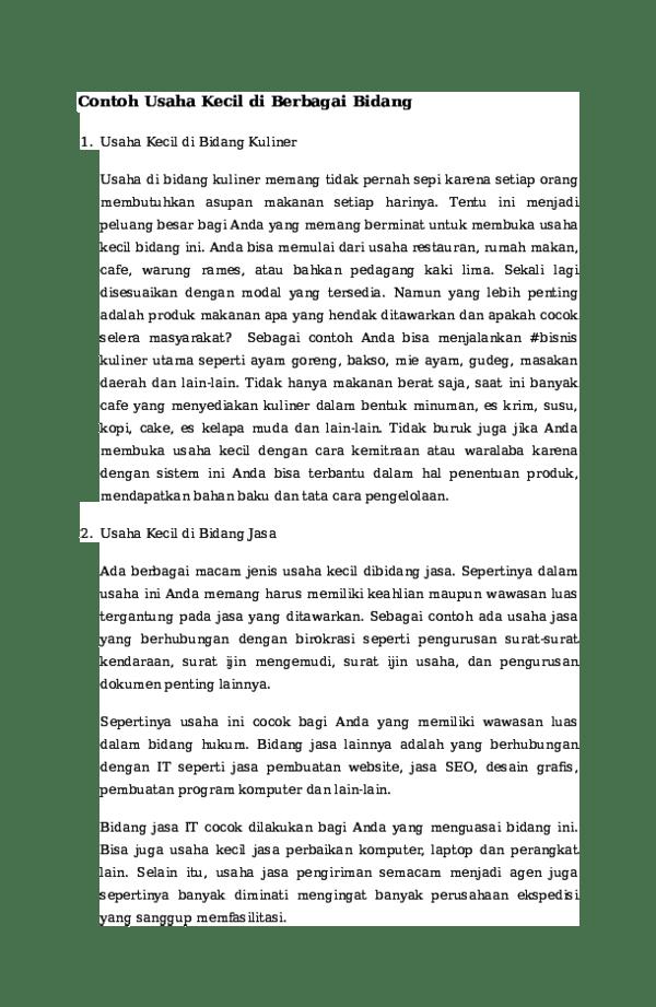 Contoh Usaha Dibidang Jasa : contoh, usaha, dibidang, Contoh, Usaha, Kecil, Berbagai, Bidang, Prasetiyo, Academia.edu