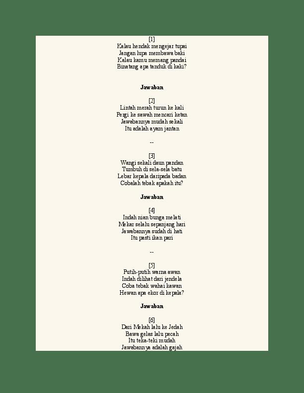 Contoh Pantun Teka Teki Satu Bait : contoh, pantun, 1.docx, Ariadi, Damanik, Academia.edu