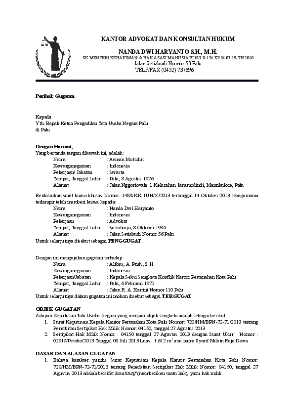 Doc Surat Gugatan Ptun Tata Usaha Academia Edu Cute766