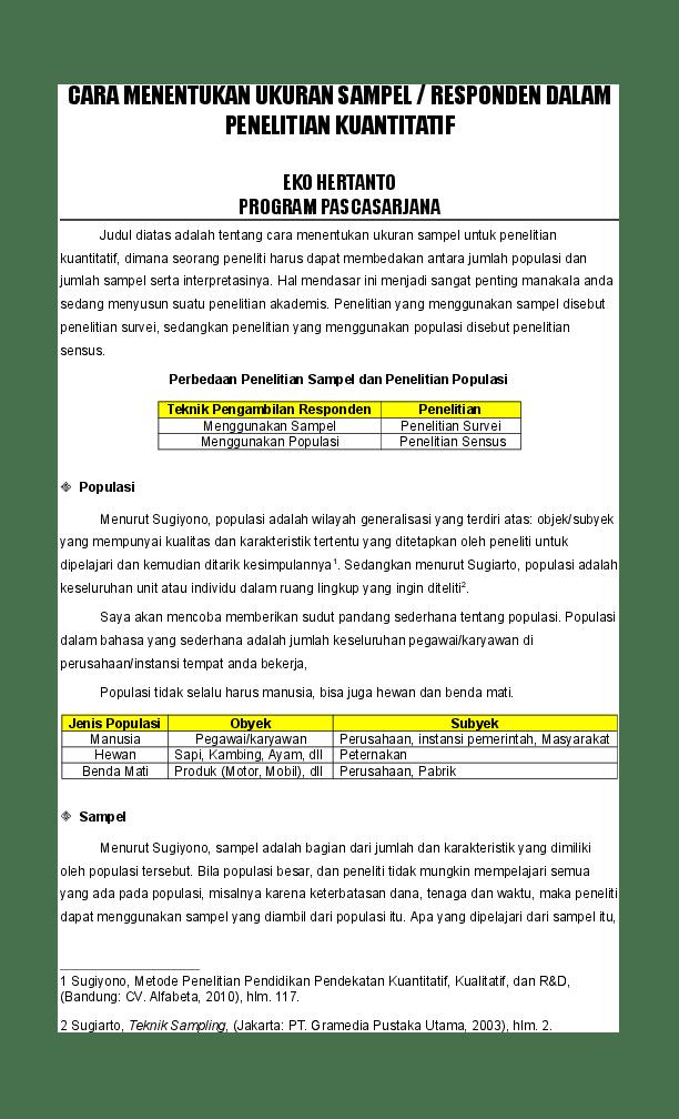 Menentukan Ukuran Sampel : menentukan, ukuran, sampel, MENENTUKAN, UKURAN, SAMPEL, DALAM, PENELITIAN, KUANTITATIF, Chece, Munawarah, Academia.edu