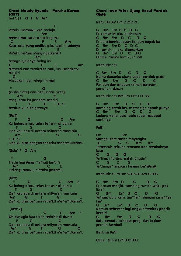 Kunci Gitar Perahu Kertas : kunci, gitar, perahu, kertas, Perahu, Kertas, Chord