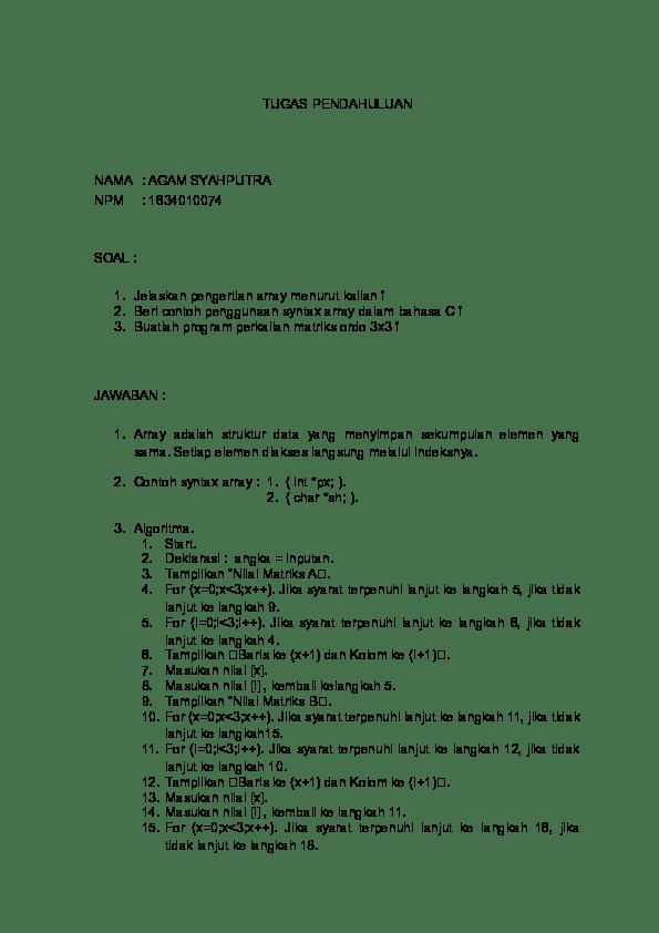Program Perkalian Matriks C++ : program, perkalian, matriks, Belajar, Bahasa, Matriks, Perkalian, Darma, Ardiansyah, Academia.edu