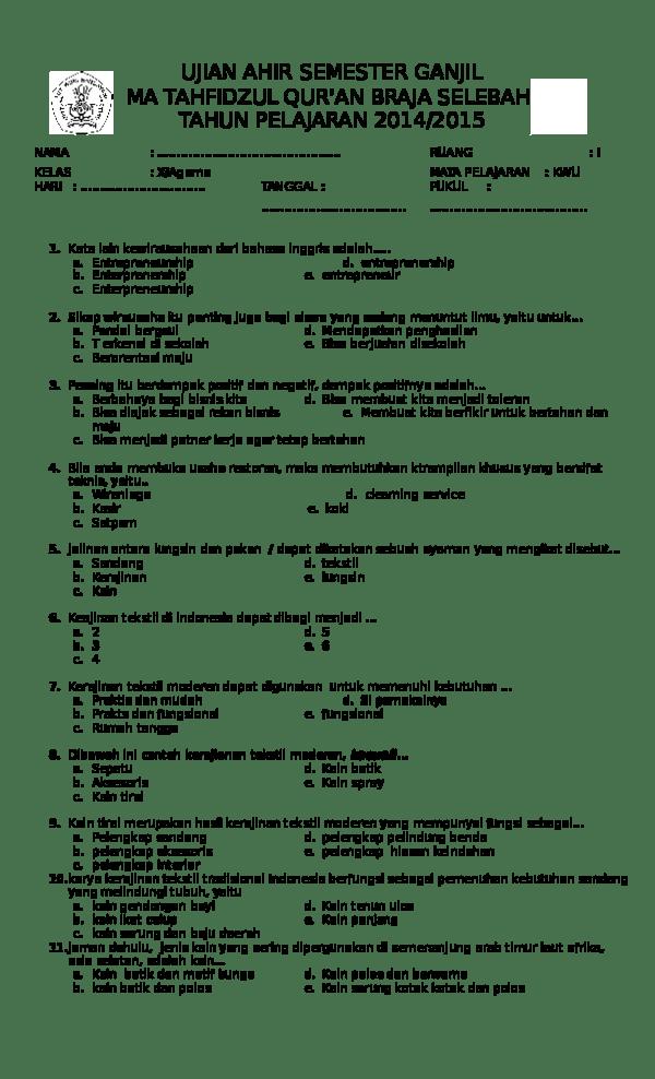 Kain Yang Dibuat Dengan Teknik Ikat Dan Berasal Dari Palembang Disebut Kain : dibuat, dengan, teknik, berasal, palembang, disebut, SOAL_SEMESTER_1_KELAS_X_KWU_and_KUNCI_JA.docx, Purwaningsih, Academia.edu