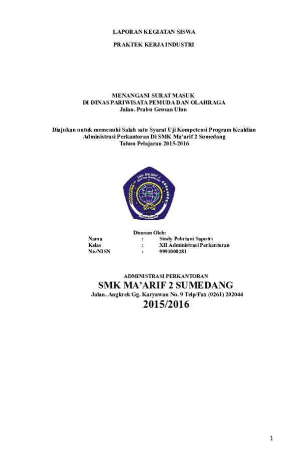 Contoh Laporan Magang Anak Smk Jurusan Administrasi Perkantoran