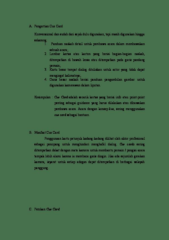 Contoh Cue Card : contoh, Jenis-Jenis, Fauziah, Academia.edu
