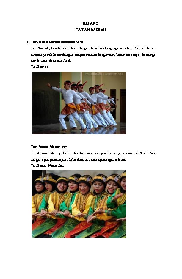 Tari Tarian Nusantara : tarian, nusantara, Kliping, Tarian, Nusantara.doc, Asram, Muzharath.K, Academia.edu