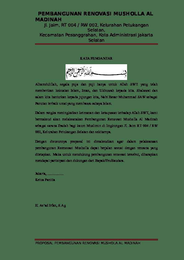 Proposal Renovasi Mushola : proposal, renovasi, mushola, Contoh, Proposal, Pembangunan, Mushola, Lengkap, Berbagi, Cute766