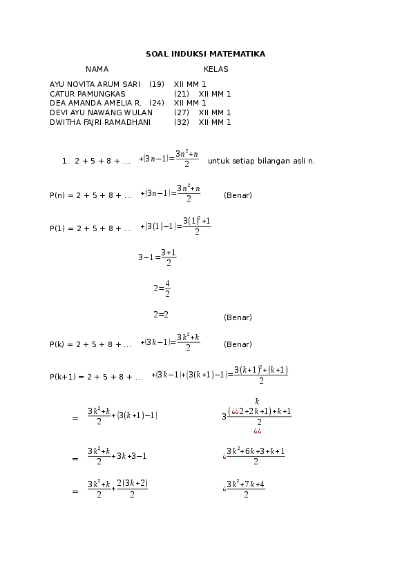Contoh Soal Induksi Matematika Kelas 11 Beserta Jawabannya : contoh, induksi, matematika, kelas, beserta, jawabannya, Contoh, Induksi, Matematika, Kelas, Pilihan, Ganda, Kumpulan, Pelajaran