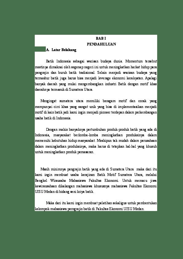 Contoh Latar Belakang Proposal Kewirausahaan Kerajinan : contoh, latar, belakang, proposal, kewirausahaan, kerajinan, Proposal, Batik.docx, Mühàmmàd, Wíbõwó, Academia.edu