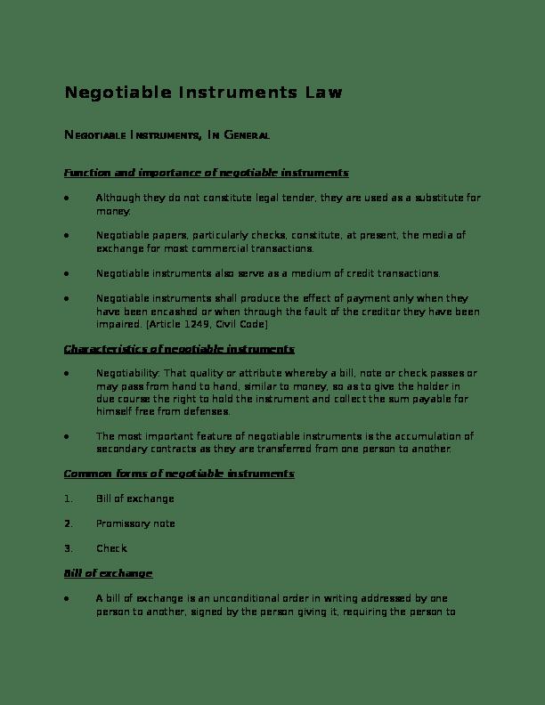 (PDF) Negotiable Instruments Law NEGOTIABLE INSTRUMENTS. IN GENERAL   jesseca bansag - Academia.edu