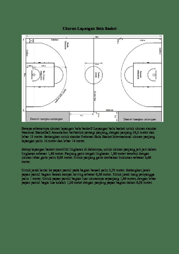 Gambar Lapangan Bola Basket Dengan Ukurannya : gambar, lapangan, basket, dengan, ukurannya, Ukuran, Lapangan, Basket, Sinar, Mulia, Academia.edu