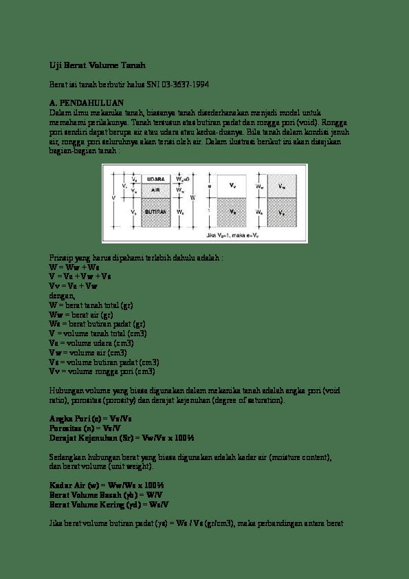 Menghitung Volume Air : menghitung, volume, Berat, Volume, Tanah, Rizal, Triono, Academia.edu