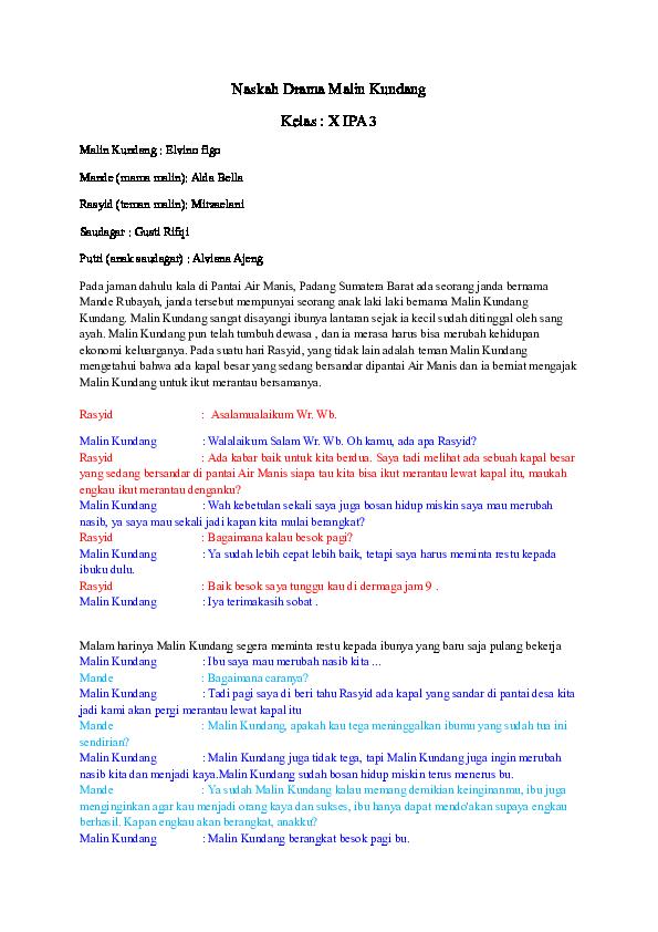 Naskah Drama Malin Kundang : naskah, drama, malin, kundang, Naskah, Drama, Malin, Kundang, (Tazkia), Muhaeni, Academia.edu