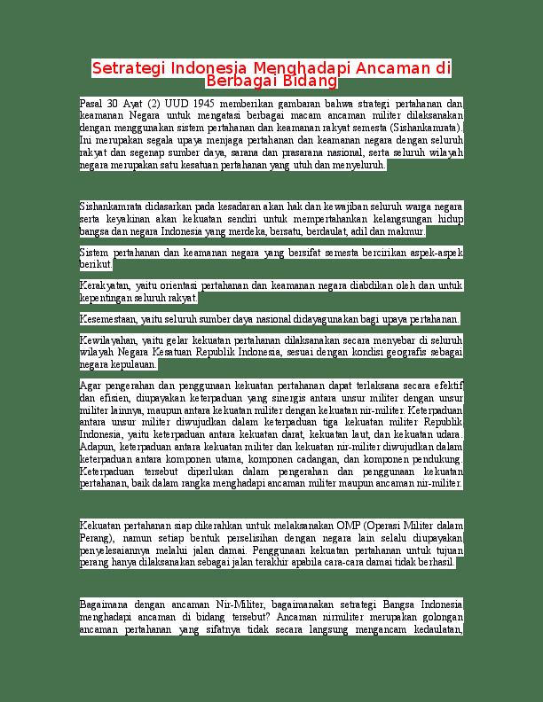 Cara Mengatasi Ancaman Di Bidang Pertahanan Dan Keamanan : mengatasi, ancaman, bidang, pertahanan, keamanan, Setrategi, Indonesia, Menghadapi, Ancaman, Berbagai, Bidang, Academia.edu