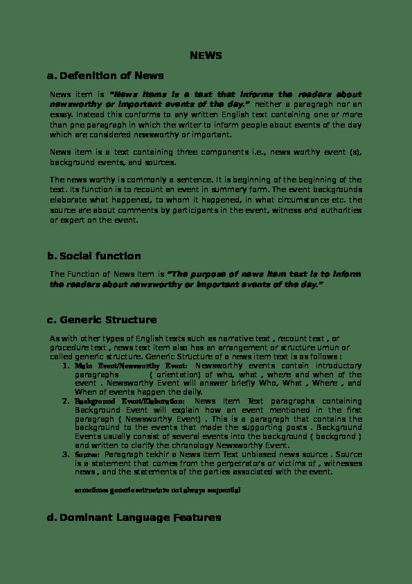 Generic Structure Of News Item : generic, structure, ITEMs.docx, Angela, Sinaga, Academia.edu