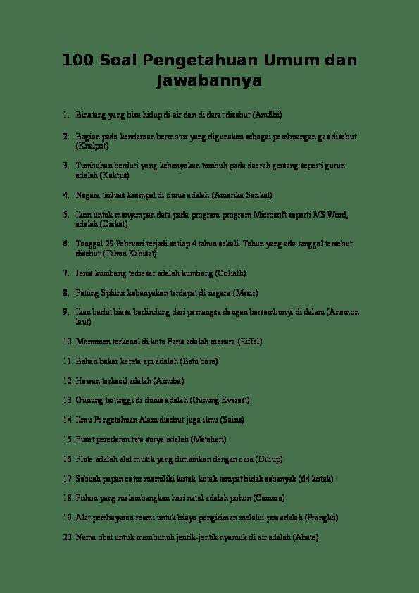 Soal Pengetahuan Umum Indonesia : pengetahuan, indonesia, Pengetahuan, Jawabannya, Yutika, Academia.edu