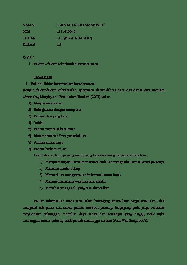 Faktor Keberhasilan Berwirausaha : faktor, keberhasilan, berwirausaha, Faktor, Keberhasilan, Wirausaha, Roronoa, Onepiece, Academia.edu