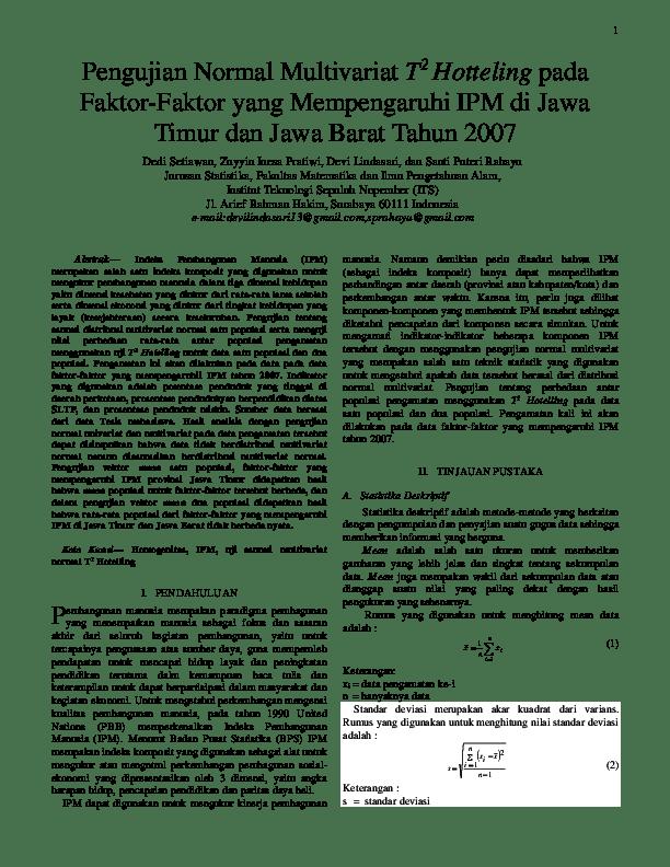 Statistika merupakan kegiatan untuk : Pdf Pengujian Normal Multivariat T2 Hotteling Pada Faktor Faktor Yang Mempengaruhi Ipm Di Jawa Timur Dan Jawa Barat Tahun 2007 Dedi Setiawan Academia Edu