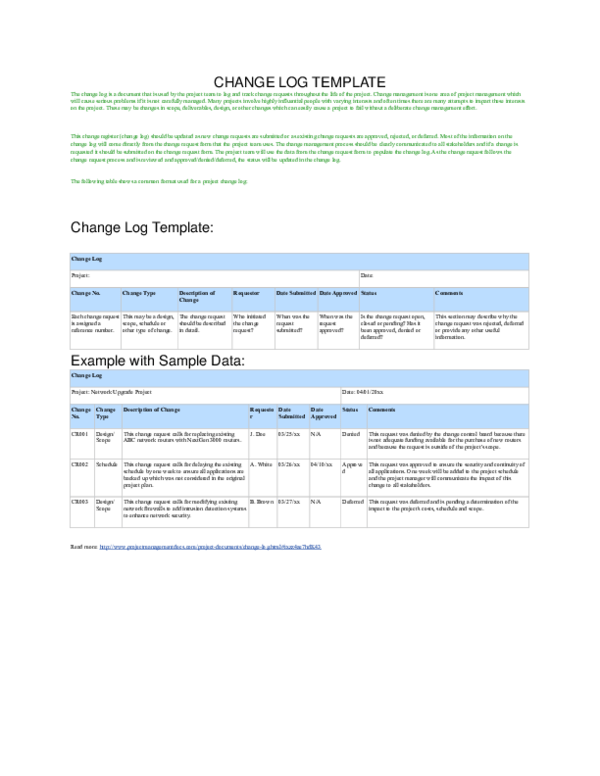 It is used to communicate a simple, summarized. Doc Change Log Template Adnan Hanan Academia Edu