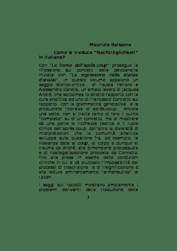 Come si traduce Nachtrglichkeit in italiano  Maurizio M Balsamo  Academiaedu