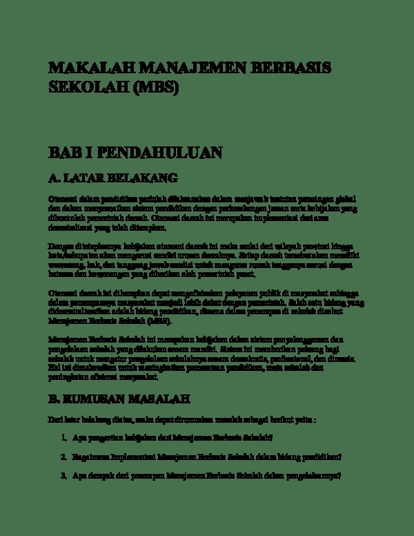 Implementasi Model Manajemen Berbasis Sekolah (MBS) di SMA