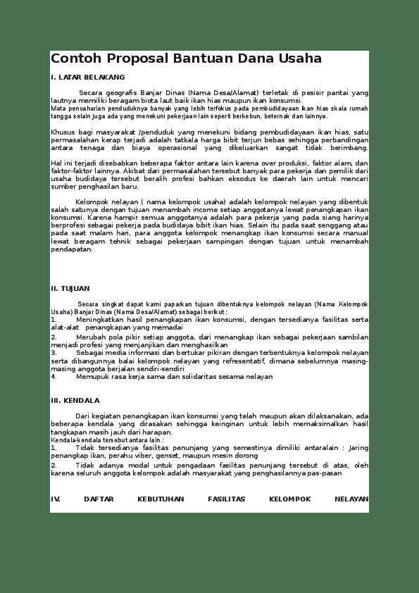 Contoh Proposal Permohonan Modal Usaha Kios Kelontong Cute766