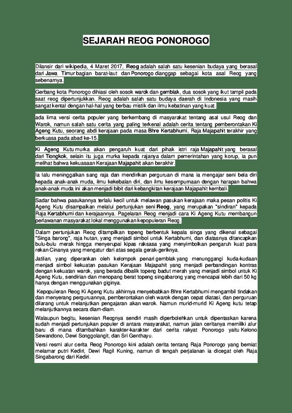 Asal Usul Tari Reog Ponorogo : ponorogo, SEJARAH, PONOROGO, Randi, Cahyanto, Academia.edu