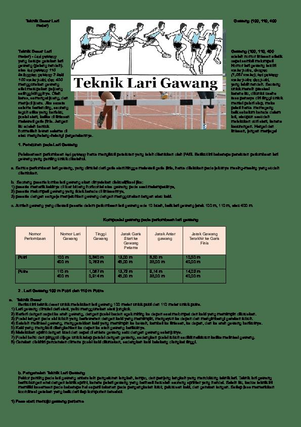 Teknik Lari Gawang : teknik, gawang, Teknik, Dasar, Gawang, (100,, Meter, Christian, Gunawan, Academia.edu