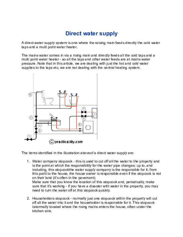 What Is Cold Water Supply System