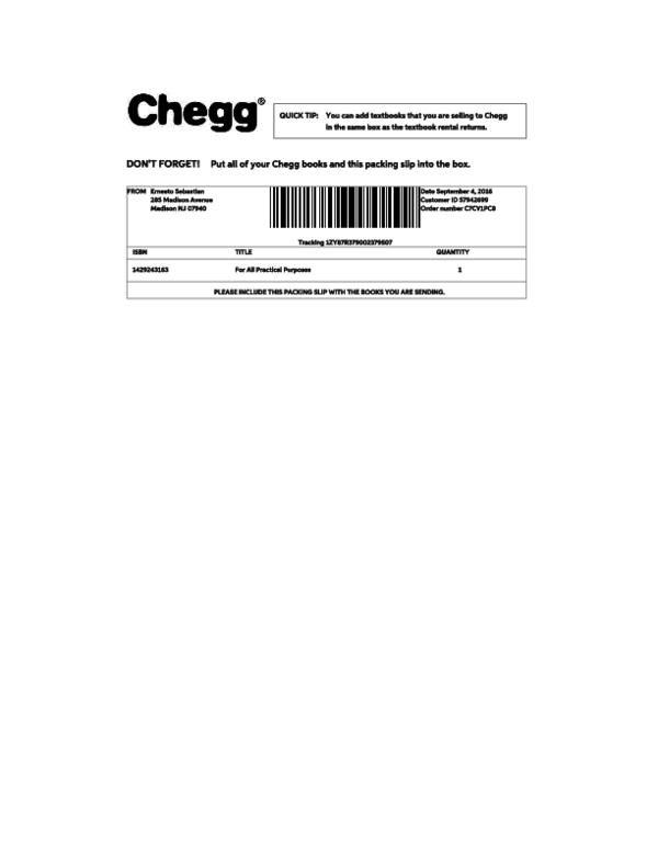 Chegg Return Label : chegg, return, label, Chegg, Packing, Return, Label, Ernesto, Sebatsin, Academia.edu