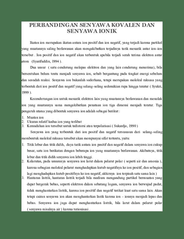 Sifat Senyawa Kovalen : sifat, senyawa, kovalen, PERBANDINGAN, SENYAWA, KOVALEN, IONIK, Nimas, Saputra, Academia.edu