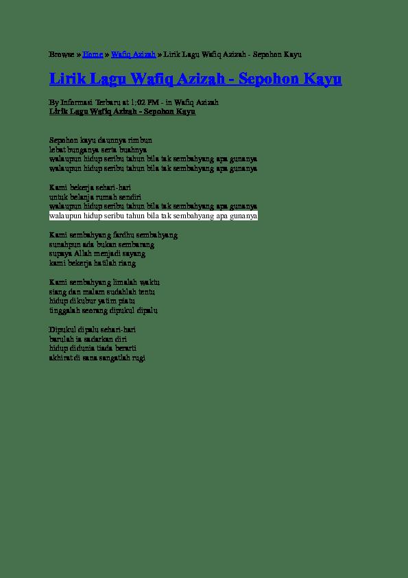 Lirik Sepohon Kayu : lirik, sepohon, Lirik, Wafiq, Azizah, -Sepohon, Adelia, Putri, Academia.edu