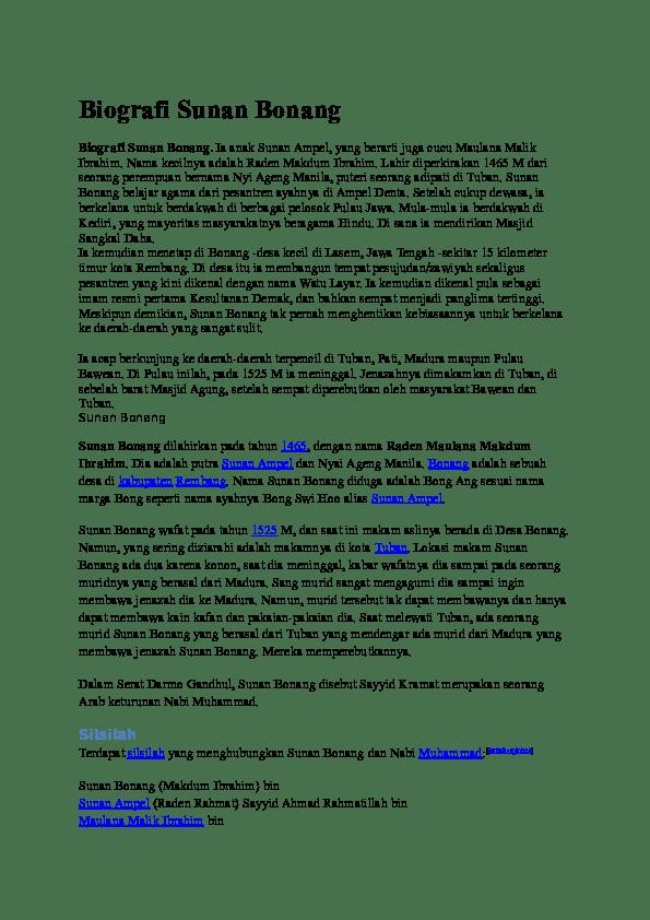 Silsilah Keturunan Sunan Bonang : silsilah, keturunan, sunan, bonang, Biografi, Sunan, Bonang, Chika, Academia.edu