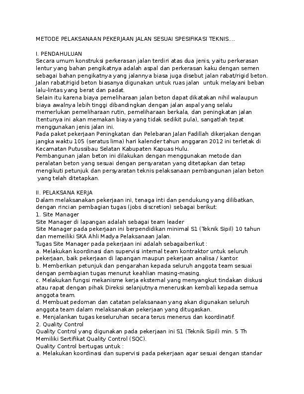 Metode Pelaksanaan Pekerjaan Jalan Beton Pdf : metode, pelaksanaan, pekerjaan, jalan, beton, METODE, PELAKSANAAN, PEKERJAAN, JALAN, SESUAI, SPESIFIKASI, TEKNIS, Academia.edu