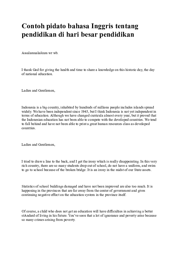 Pidato Bahasa Inggris Singkat Tentang Pendidikan : pidato, bahasa, inggris, singkat, tentang, pendidikan, Contoh, Pidato, Bahasa, Inggris, Tentang, Pendidikan, Besar, Muhammad, Fajrin, Academia.edu