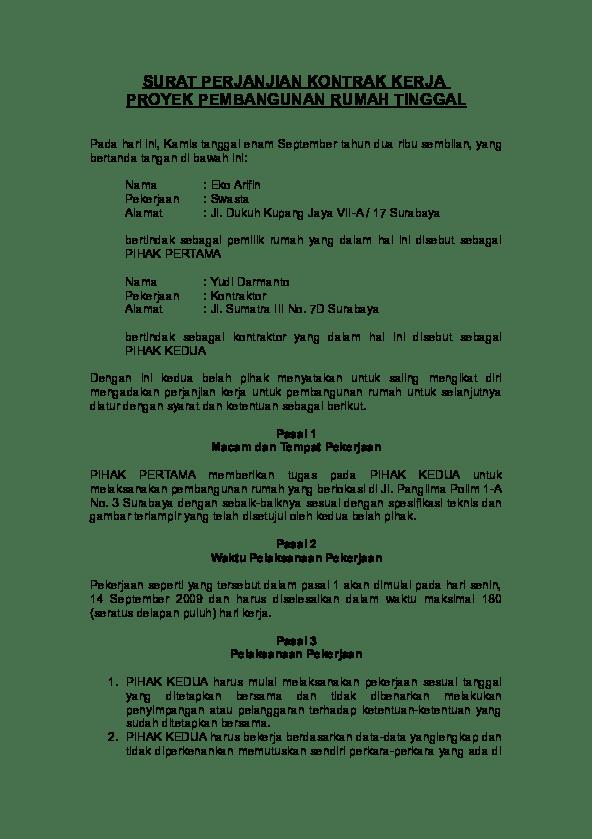 Contoh Dokumen Kontrak Proyek Konstruksi Pdf : contoh, dokumen, kontrak, proyek, konstruksi, SURAT, PERJANJIAN, KONTRAK, KERJA, PROYEK, PEMBANGUNAN, RUMAH, TINGGAL, Mochamad, Faisol, Academia.edu