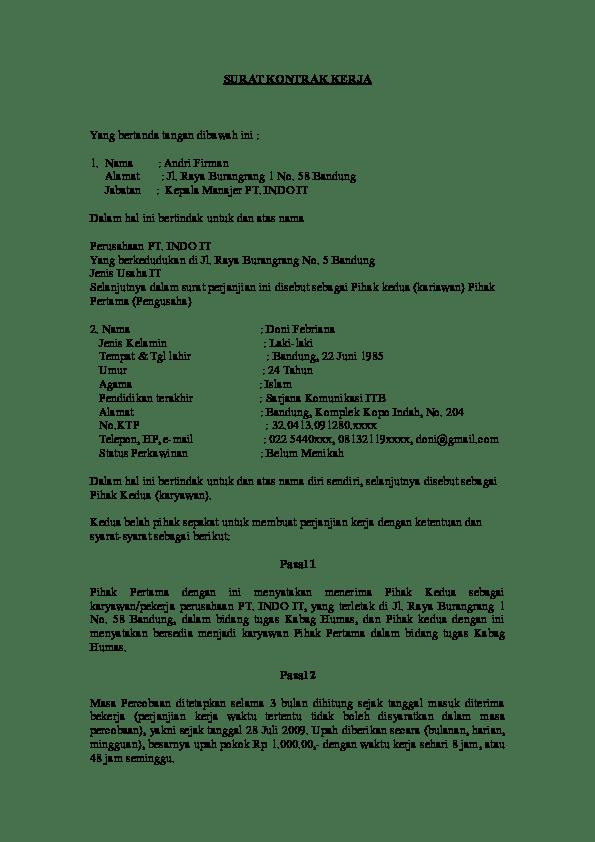 Surat Perjanjian Kerja Doc : surat, perjanjian, kerja, SURAT, KONTRAK, KERJA, Jeffry, Autumn, Academia.edu