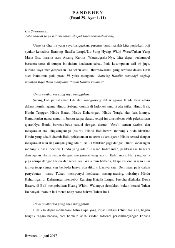 Topik: Dharma Wacana - Tribun Bali