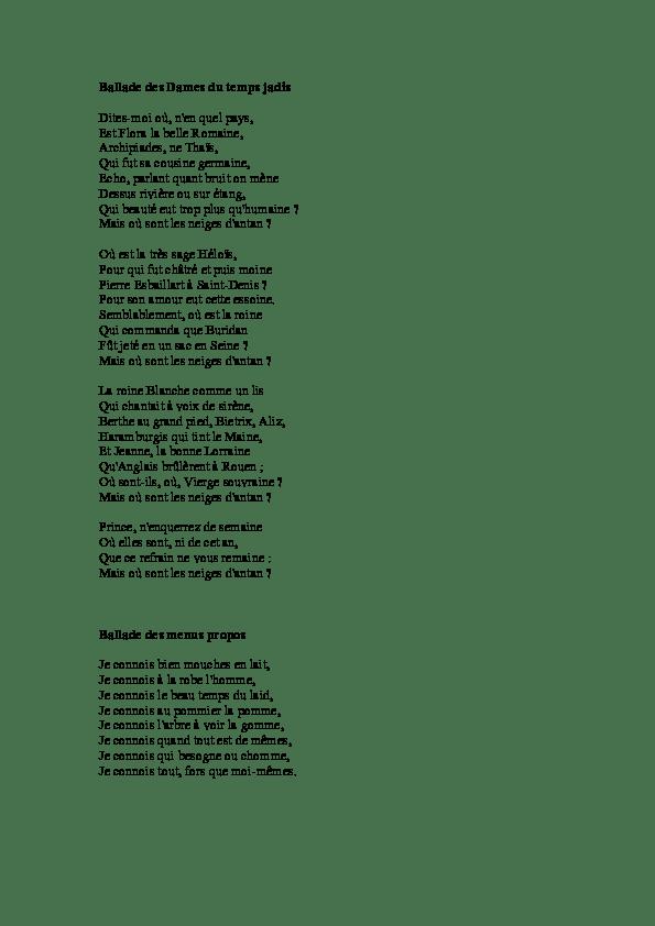 Villon, Francois (1432-1463) - Poems