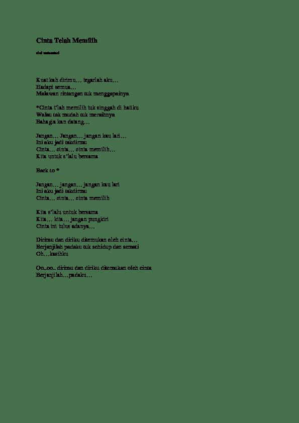 Teks Lagu Tabir Kepalsuan : tabir, kepalsuan, Cinta, Telah, Memilih, Wulandari, Taufiq, Qurrahman, Academia.edu