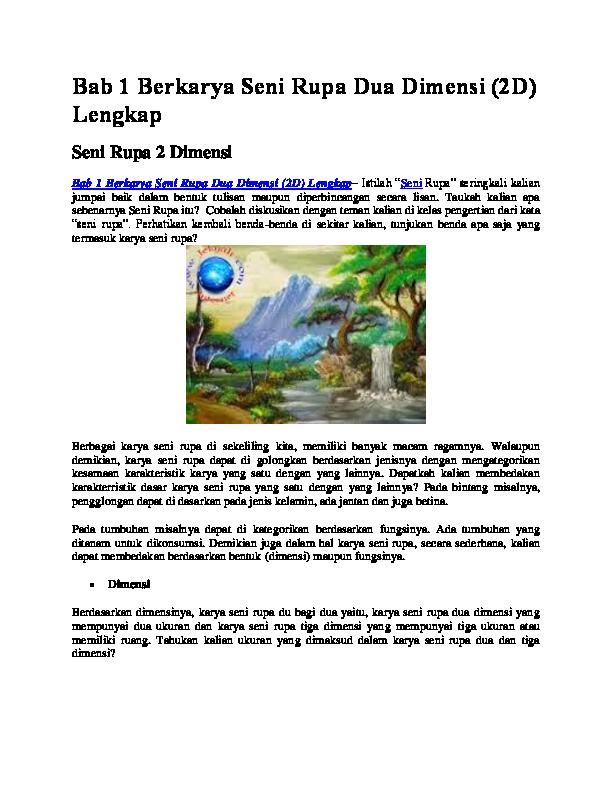 Pengertian Seni Rupa 2 Dimensi beserta Contohnya (LENGKAP)