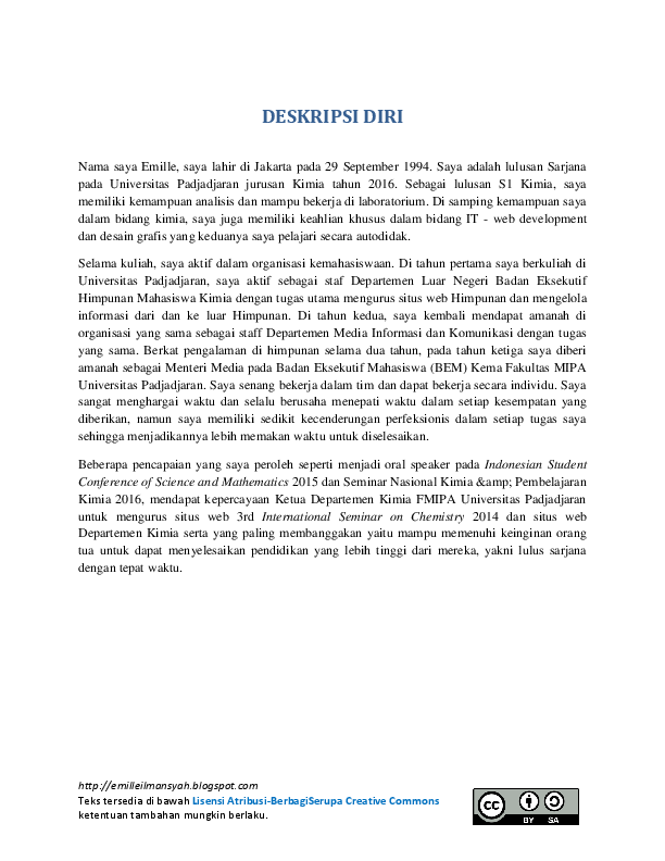 Contoh Deskripsi Diri Sendiri : contoh, deskripsi, sendiri, Deskripsi, Untuk, Melamar, Kerja, Emille, Ilmansyah, Academia.edu