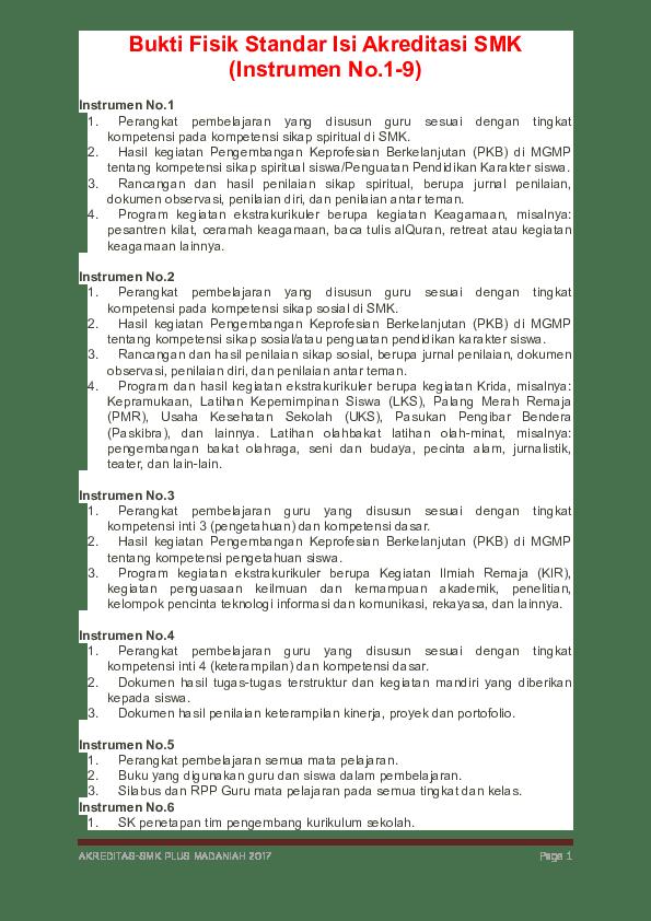 Download Bukti Fisik Akreditasi Smk : download, bukti, fisik, akreditasi, Bukti, Fisik, Standar, Akreditasi, (Instrumen, No.1-9, Rizki, .fauzi, Academia.edu