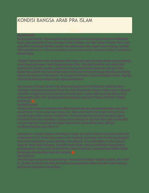 Kondisi Bangsa Arab Pra Islam : kondisi, bangsa, islam, KONDISI, BANGSA, ISLAM, Movie, Academia.edu