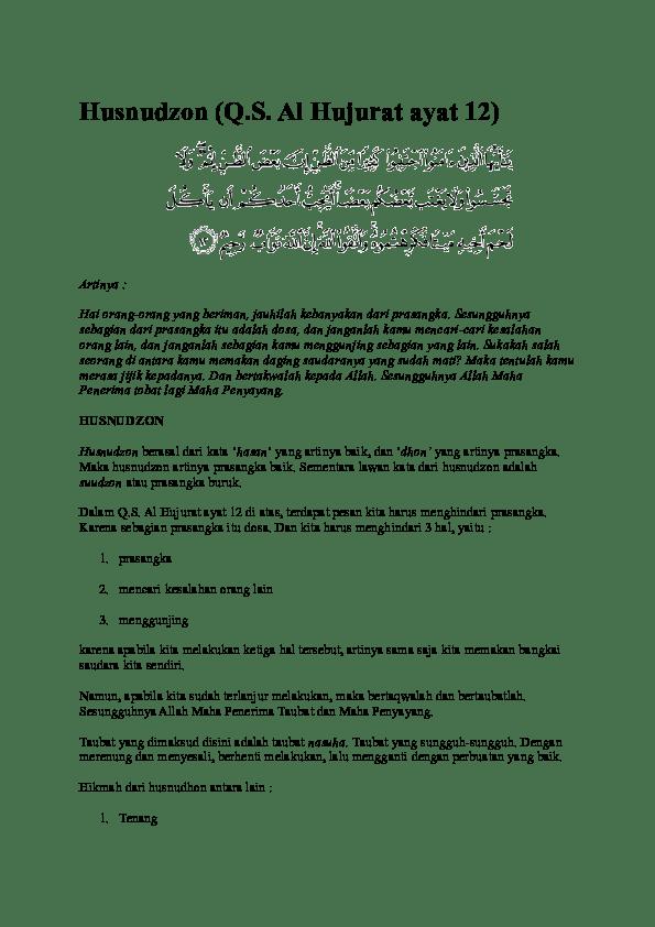 Surah Al Hujurat Ayat 12 Dan Artinya : surah, hujurat, artinya, Husnudzon, (Q.S., Hujurat, Helen, Academia.edu