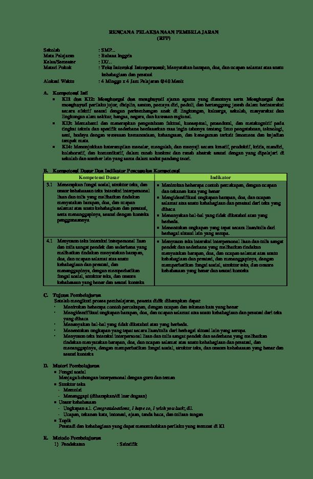 Rpp Bahasa Inggris Smp Kelas 9 Kurikulum 2013 Pdf : bahasa, inggris, kelas, kurikulum, Bahasa, Inggris, Kelas, Revisi, Mifjan, Academia.edu