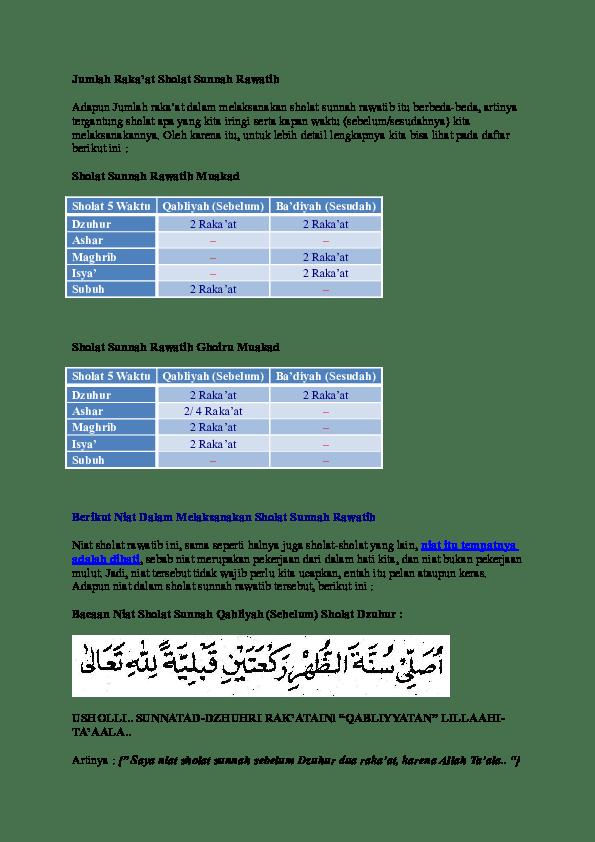 Shalat Sunnah Rawatib Adalah : shalat, sunnah, rawatib, adalah, Sholat, Sunnah, Rawatib.doc, RuRie, AfaUri, Academia.edu